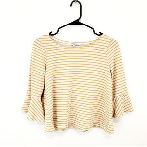 Green Envelope Striped Bell Sleeved Yellow Top